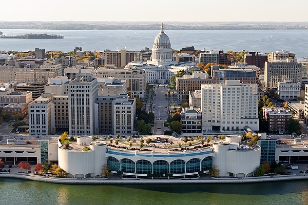 Aerial view from Lake Monona