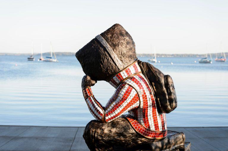 bucky looking at lake