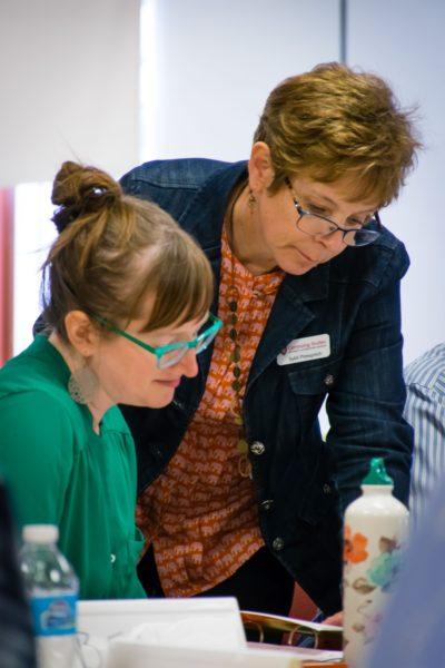 Sybil Pressprich with a workshop participant