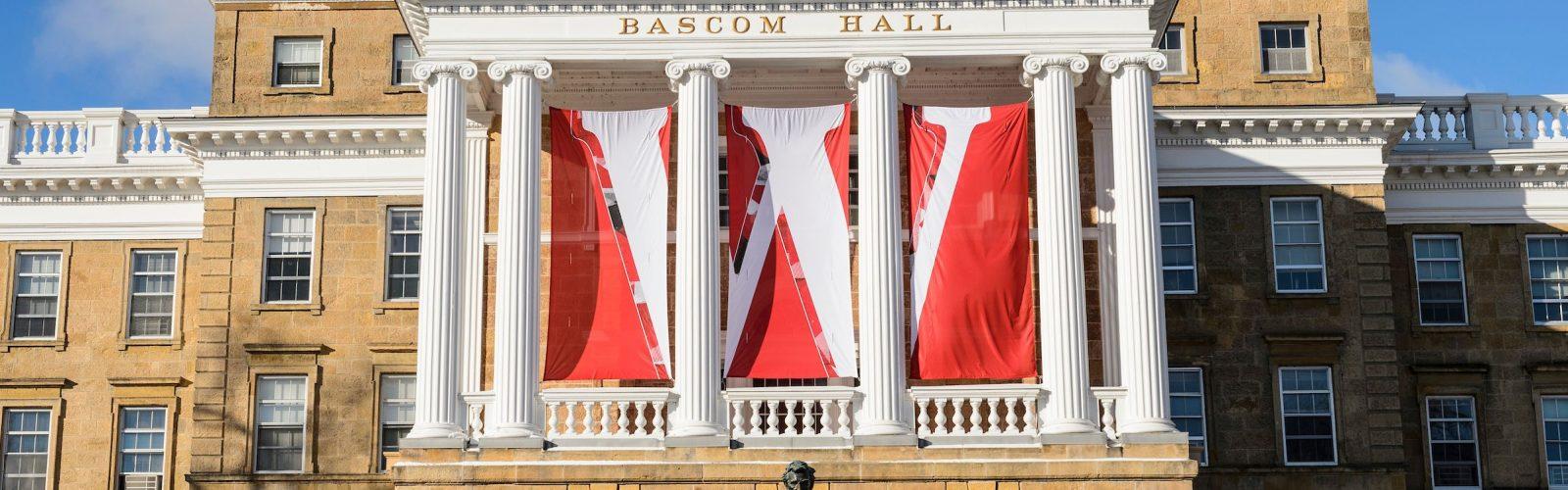 bascom hall with W banner