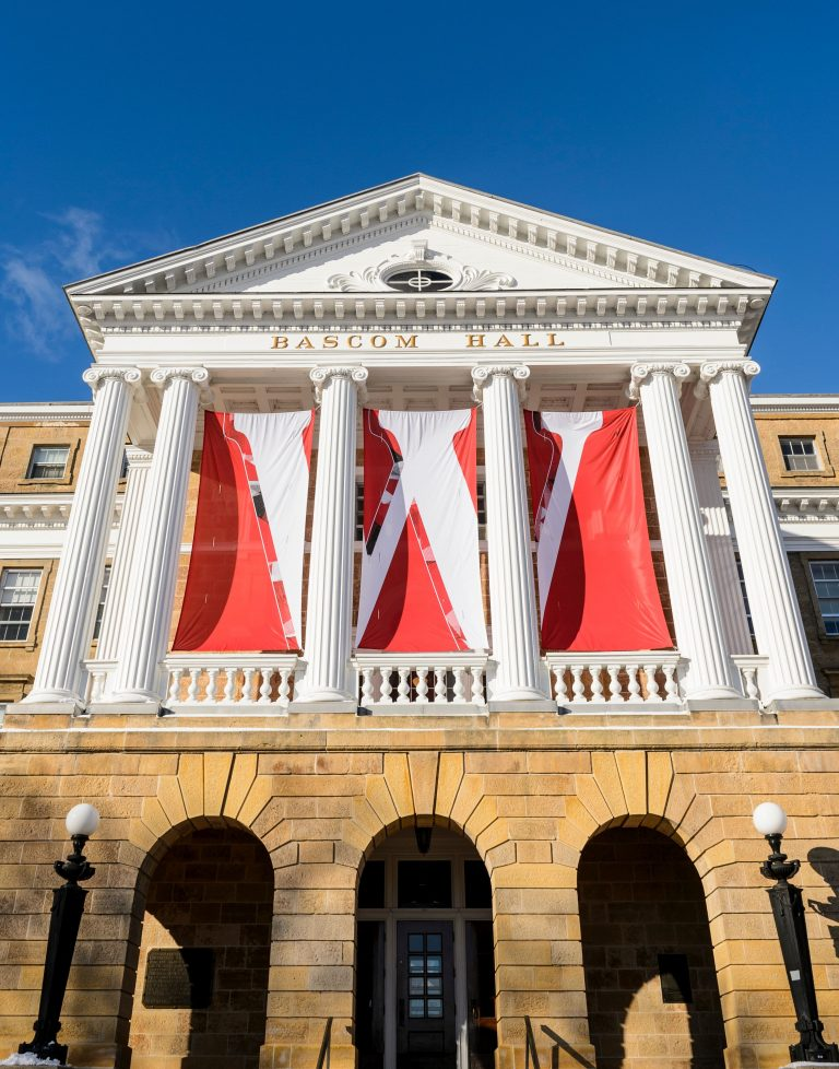 Bascom hall with W banner
