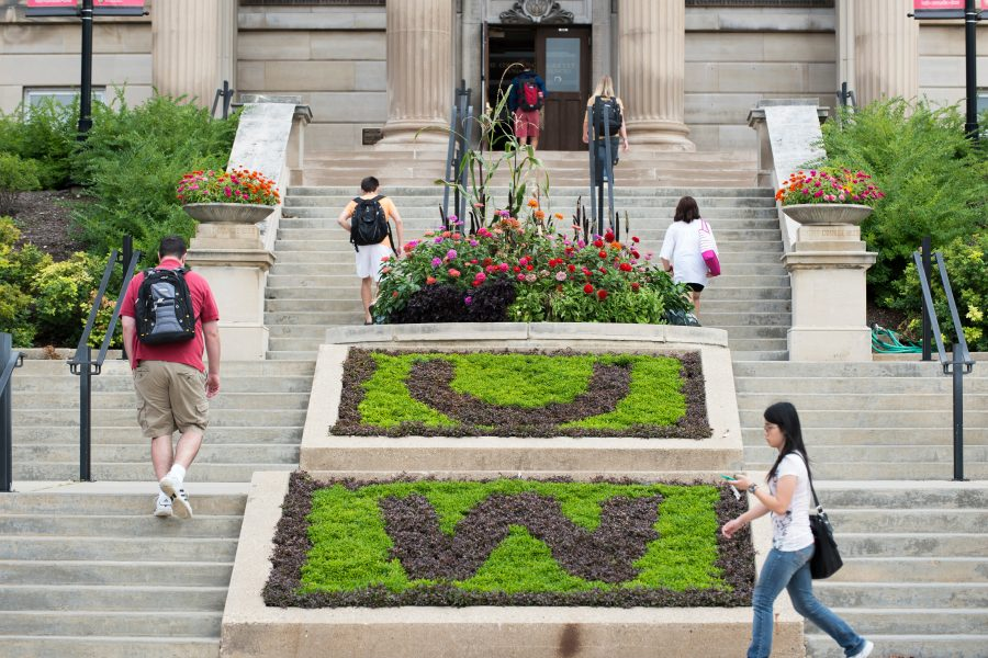 UW-Madison's agriculture hall with flowers