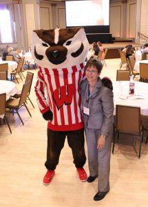 Sybil Pressprich and Bucky Badger