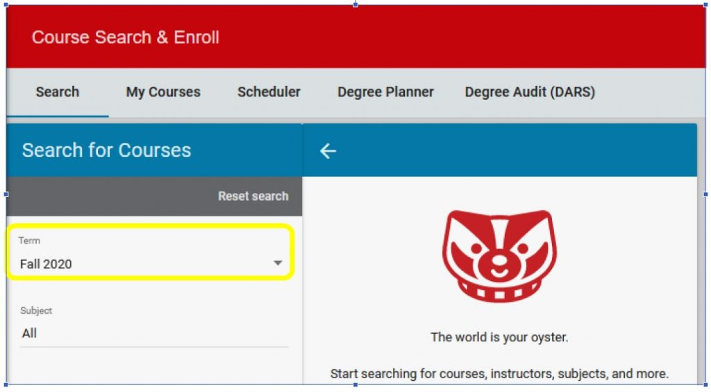 course search and enroll screenshot