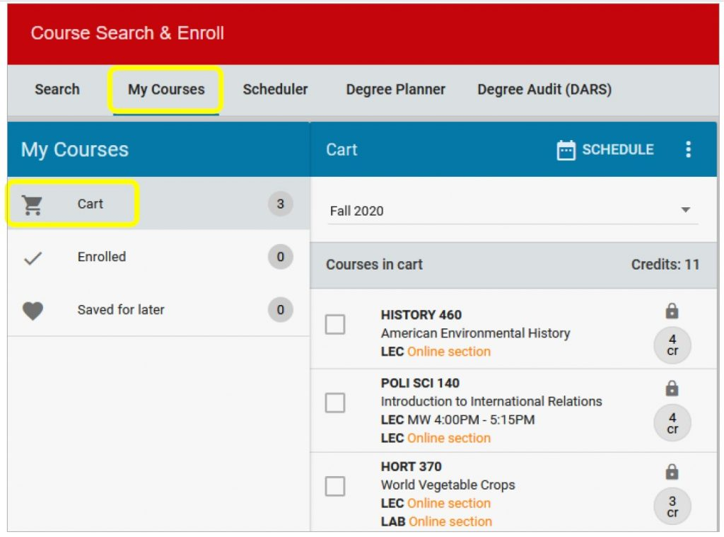 course search and enroll with cart screenshot
