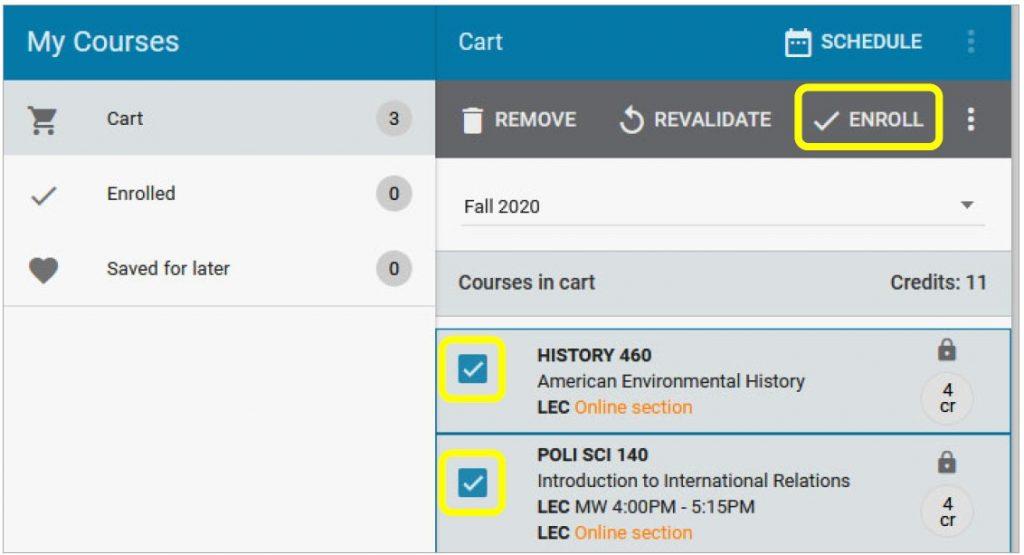 enroll from cart screenshot