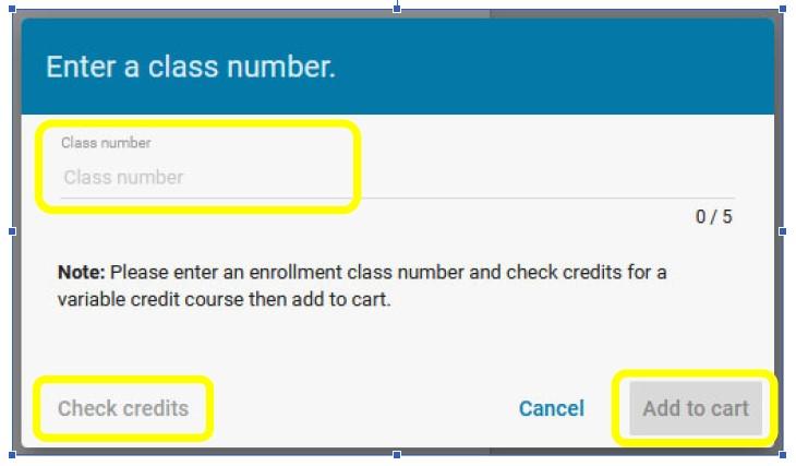 enter class number screen shot